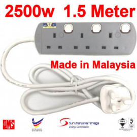 image of UMS Sirim Approved 3 Gang Portable Socket Trailing Extensions Socket Outlet