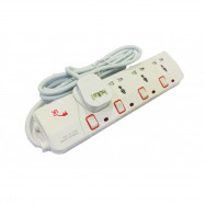 image of UK Multi Extension Socket-Neon Switch 4 GANG