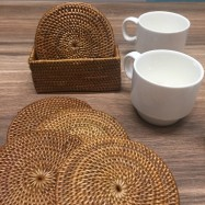 image of Rattan Coaster Set (6 pcs)