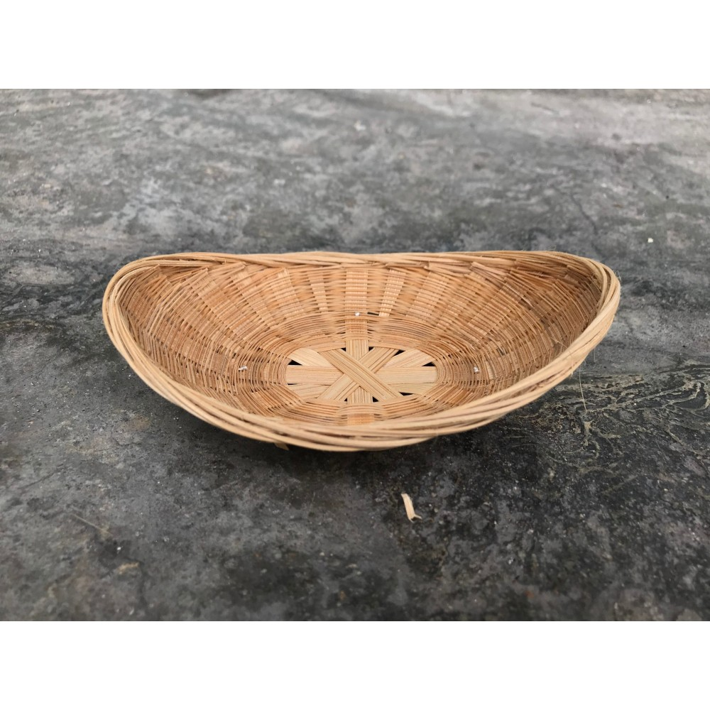 Bamboo braided shallow basket (2 units)