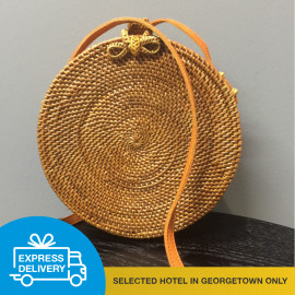 image of 【Express Delivery】Hand-Woven Round Shoulder Bag