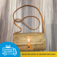 image of 【Express Delivery】Hand-Woven Long Rattan Shoulder Bag