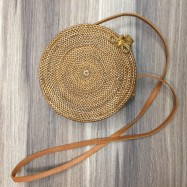 image of Hand-Woven Round Shoulder Bag