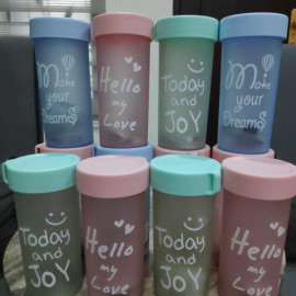 image of [Ready Stock] transparent water bottle 360ml 磨砂水壶