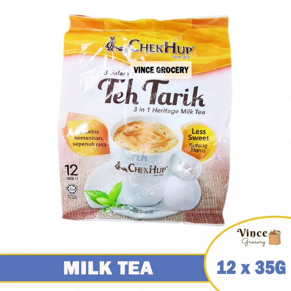 CHEK HUP Teh Tarik 3 In 1 Heritage Milk Tea (Less Sweet) 12 X 35G