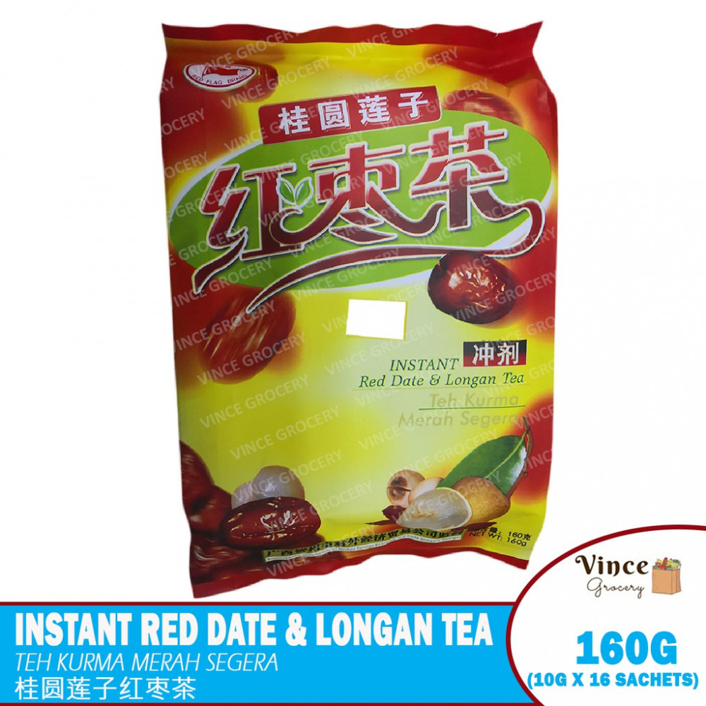 RED FLAG BRAND Instant Red Date & Longan Tea | 红旗牌桂圆莲子红枣茶 160G
