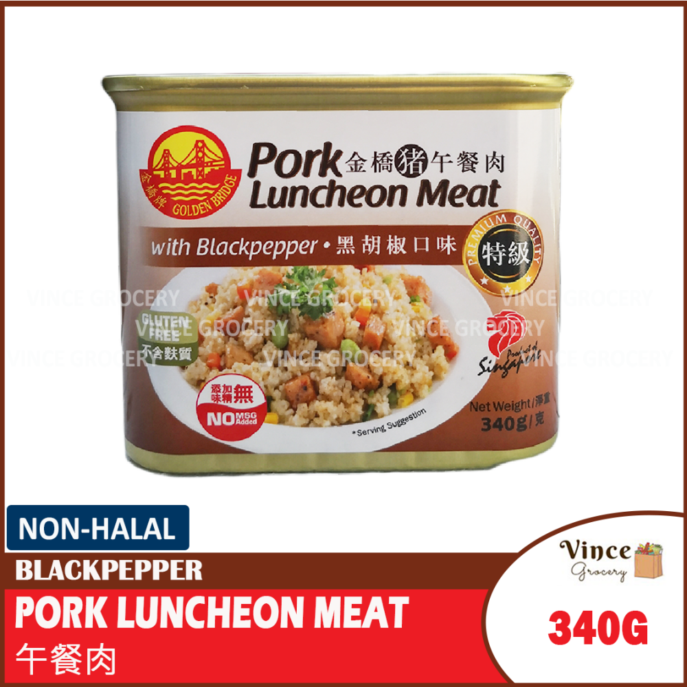 GOLDEN BRIDGE Pork Luncheon Meat with Blackpepper | 金桥猪午餐肉 黑胡椒口味 340G