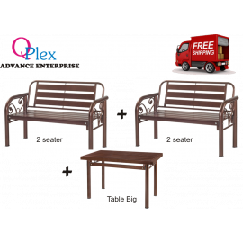 image of METAL BENCH CHAIR SET (FREE SHIPPING)