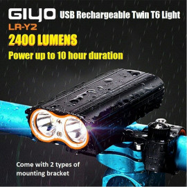 image of GIYO LR-Y2 2400 Lumens USB Rechargeable Twin T6 Light