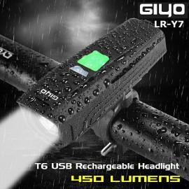 image of GIYO LR-Y7 450Lumens T6 USB Rechargeable Headlight