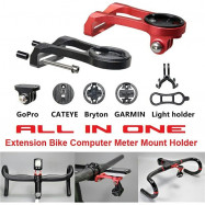 image of ALL IN ONE Extension Bike Computer Meter Mount Holder For GARMIN Edge, Bryton, GoPro, Cateye & Camcorder