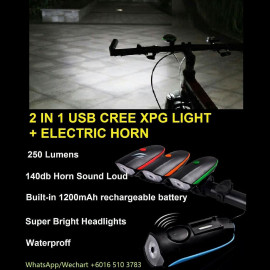 image of 2 IN 1 USB CREE XPG LIGHT + ELECTRIC HORN