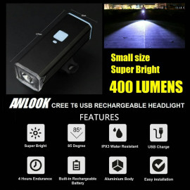 image of AWLOOK CREE T6 USB Rechargeable Headlight