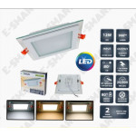 4 INCH 12W GLASS FRAME LED DOWNLIGHT SQUARE [SURGE PROTECTED] 2 YEARS WARRANTY