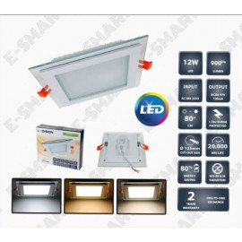 image of 4 INCH 12W GLASS FRAME LED DOWNLIGHT SQUARE [SURGE PROTECTED] 2 YEARS WARRANTY