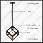E27 INDUSTRIAL CEILING LIGHT VINTAGE CHANDELIER PENDANT LAMPU GANTUNG 4.9