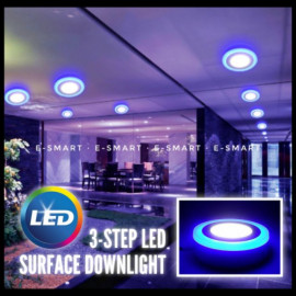 image of 3STEP SURFACE LED DOWNLIGHT 12W+4W 18W+6W RND/SQR [DL+WW] [DL+BL]