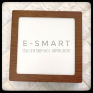 image of E-SMART WOOD DESIGN LED SURFACE DOWNLIGHT METAL RND/SQR 18W DAYLIGHT WHITE LIGHT