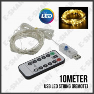 image of E-SMART 10METER X USB LED STRING LIGHT REMOTE CONTROL DIMMABLE (WARM WHITE)