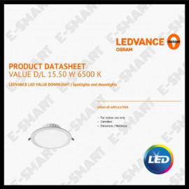 "image of OSRAM LED DOWNLIGHT 15.5W 8"" 830 840 865 LEDVALUE DOWNLIGHT"