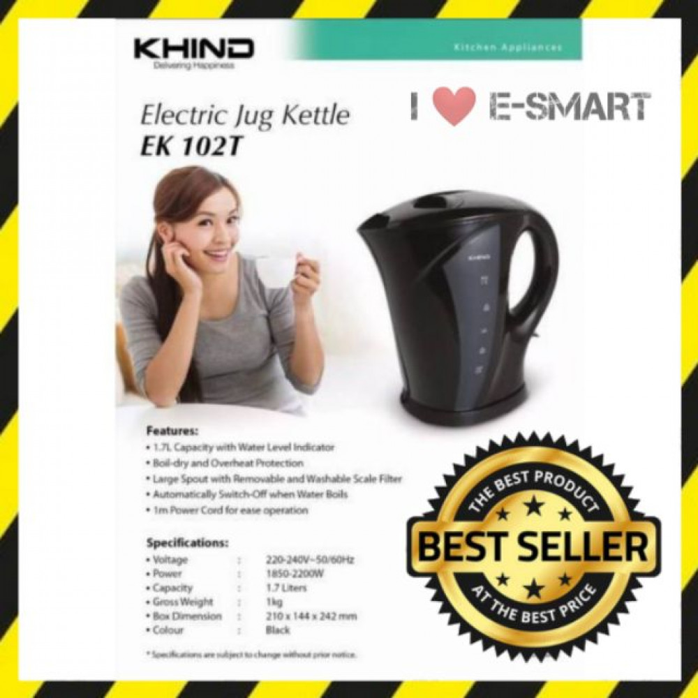 KHIND EK 102T Electric Jug Kettle 1.7L Black