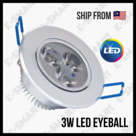 image of 3W LED EYE BALL RECESSED SPOTLIGHT 3000K/6500K WARMWHITE/DAYLIGHT