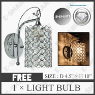 image of LIGHT DREAM K9 CRYSTAL DECORATIVE WALL LIGHT SILVER CHROME (E27)
