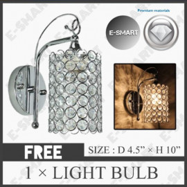 image of LIGHT DREAM K9 CRYSTAL DECORATIVE WALL LIGHT SILVER CHROME (E27)