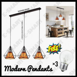 image of E-SMART BEST BUY SET OF 3 IN LONG BASE PENDANT LIGHT DIAMOND/3H