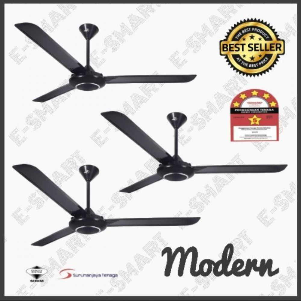 [3NOS BUNDLE PACK] MAVA MV1 5SPEED 60'' CEILING FAN BLACK KIPAS SILING HITAM