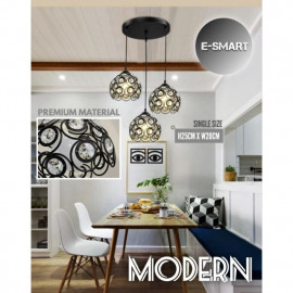 image of MODERN DESIGN METAL+CRYSTAL PENDANT LIGHT LAMPU GANTUNG CRYSTAL LAMPU MEJA MAKAN