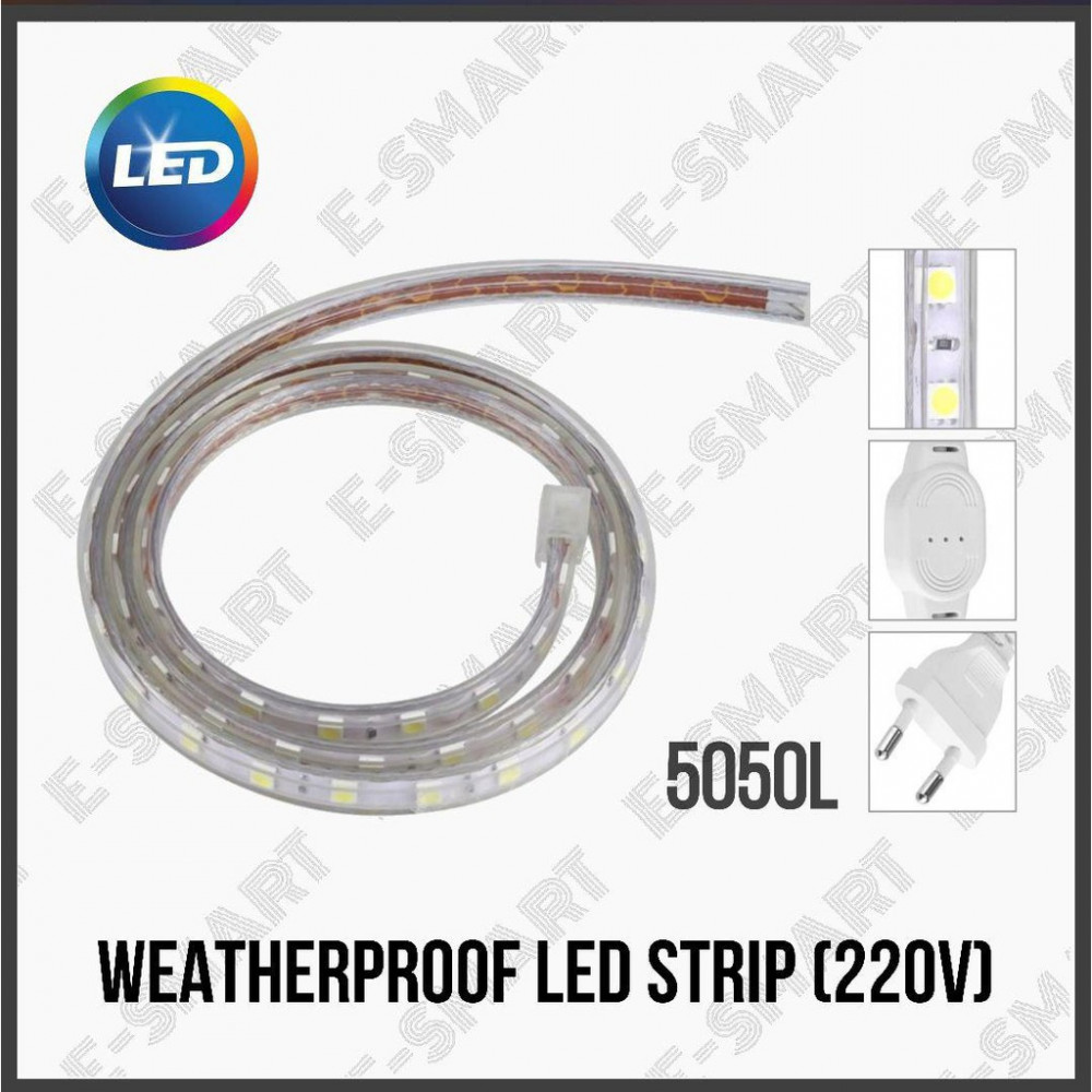 10METER X WARM WHITE 5050L WEATHER PROOF LED STRIP (AC) C/W POWER CORD (PNP)