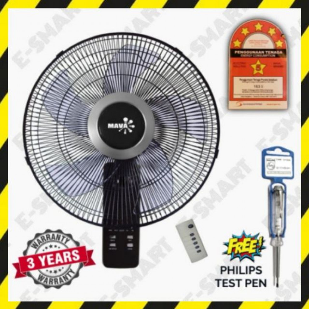 Mava 16inch 5-Blade Remote Control Wall Fan (5Stars Rating) Kipas Dinding