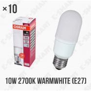 image of 10PCS x OSRAM LED VALUE STICK BULB 10W E27 220-240V WARMWHITE 2700K