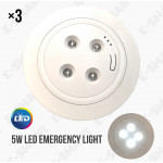 3PCS x 5W LED Recessed Self-Contained Emergency Light Luminaire Lampu Kecemasan