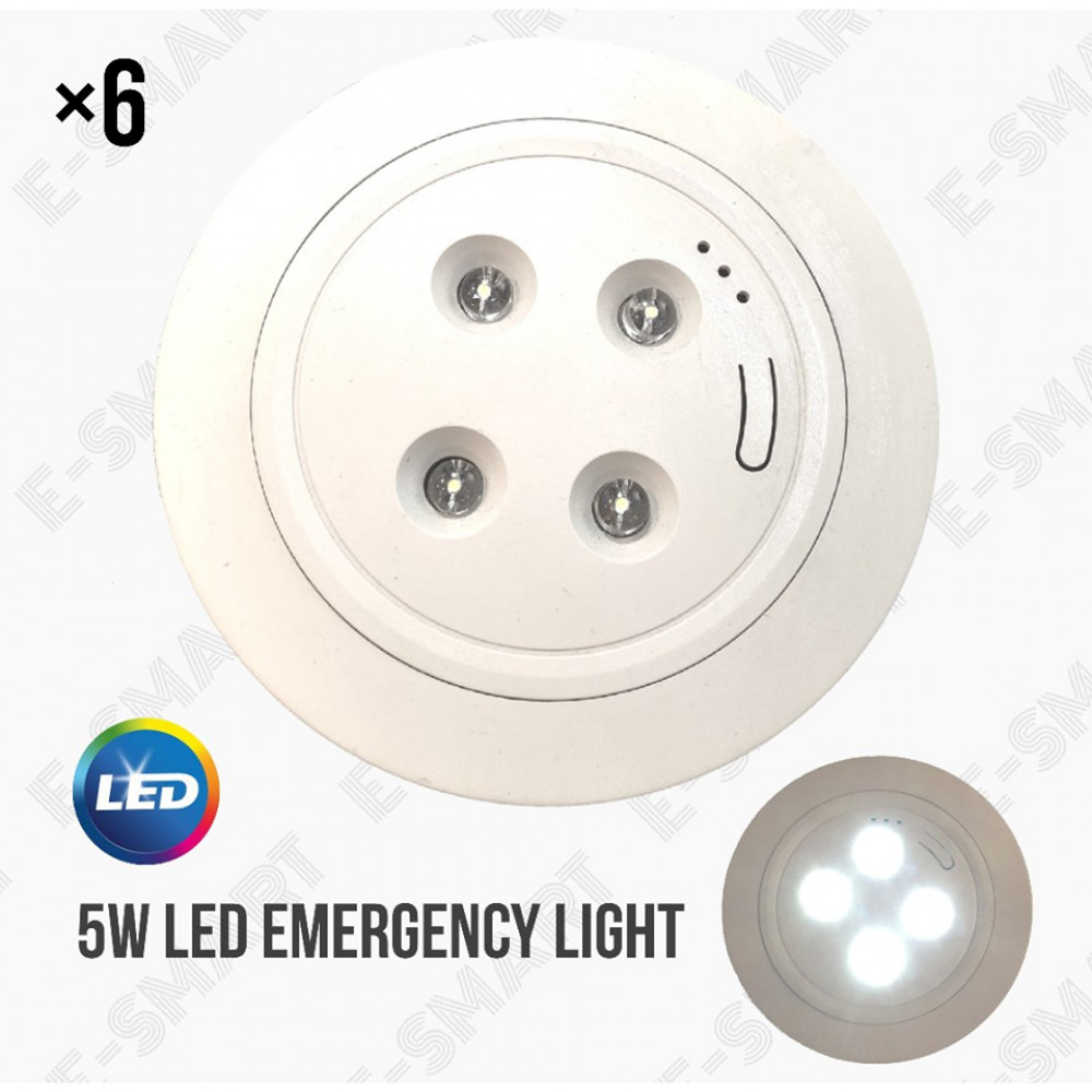 6PCS X 5W LED Recessed Self-Contained Emergency Lighting Luminaire *NEW