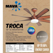 """image of MAVA TROCA 58"""" DC CEILING FAN WITH 3C LED (DC SILENT MOTOR) REMOTE KIPAS SILING"""