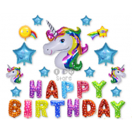 image of 【READY STOCK】Colourful Unicorn Happy Birthday Balloon Set