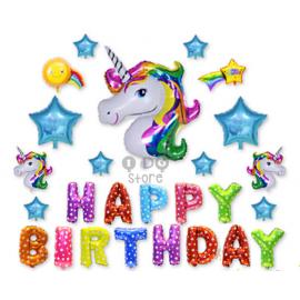 image of 【READY STOCK】Colourful Unicorn Happy Birthday Balloon Set