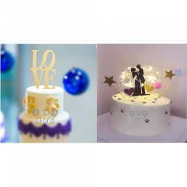 image of 【READY STOCK】DIY Wedding / Birthday / Anniversary Cake Topper / Cake's Stand