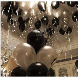 image of 【READY STOCK】10 inch Metalic Pearl Latex Balloon ( Black/Silver/Gold/Red/White)