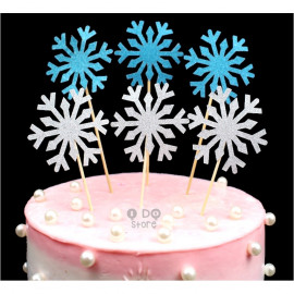 image of 【READY STOCK】Glitter Snow Flake / Frozen Theme Cake Topper / Cake Stand