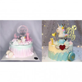 image of 【READY STOCK】Cute Unicorn Cartoon Birthday Cake Display / Decoration