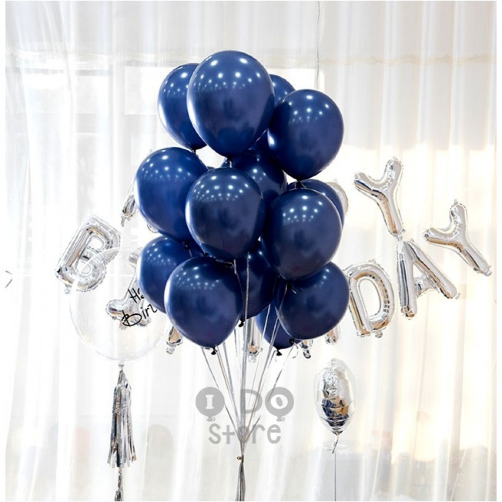 【READY STOCK】12 inch 3.2g Metalic Pearl Latex Balloon(Midnight blue/Gold/Silver)