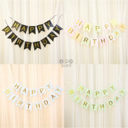 image of 【READY STOCK】Simple Happy Birthday Paper Flag Hang Pennants/Banner