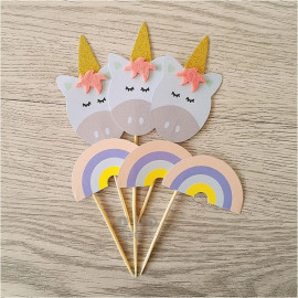 image of 【READY STOCK】Unicorn & Rainbow Happy Birthday Cup Cake Topper / Cake's Stand