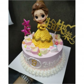 image of 【READY STOCK】DIY Cute Belle Disney Princess Birthday Cake Display / Cake Deco