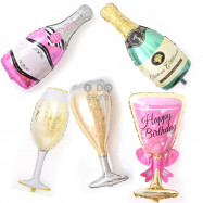 image of 【READY STOCK】Big Birthday Wine Glass/Champagne/Wine Bottle