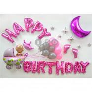 image of 【READY STOCK】Baby Girl Birthday Party Balloon Set ( Stroller )