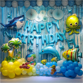 image of 【READY STOCK】OCEAN / UNDER THE SEA Theme Birthday Party Decoration Balloon Set